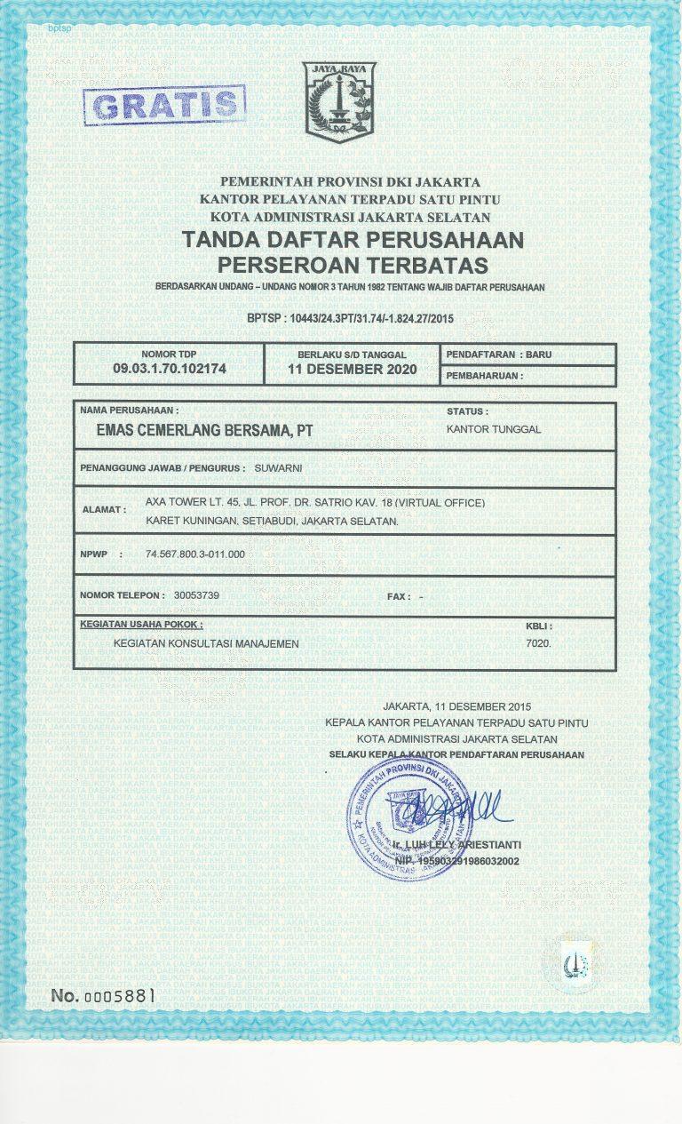 Registration certificate PT ECB