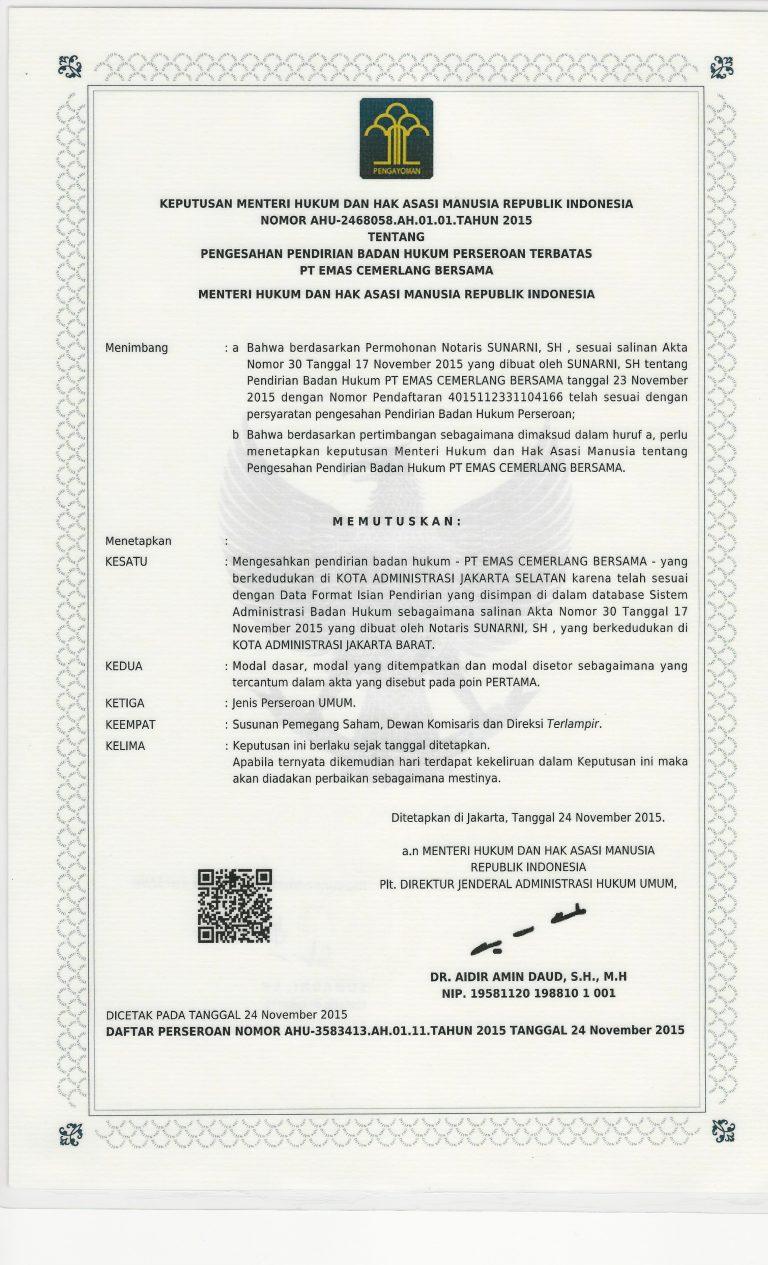 company establishment legal certificate