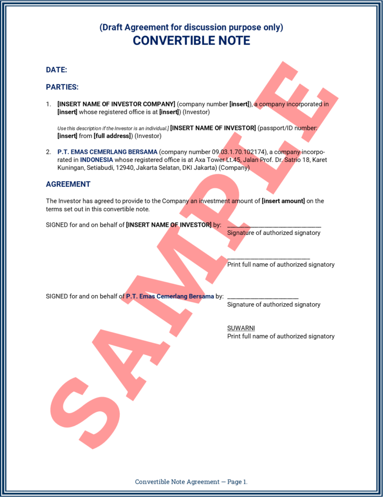 Convertible Note Agreement Page 1