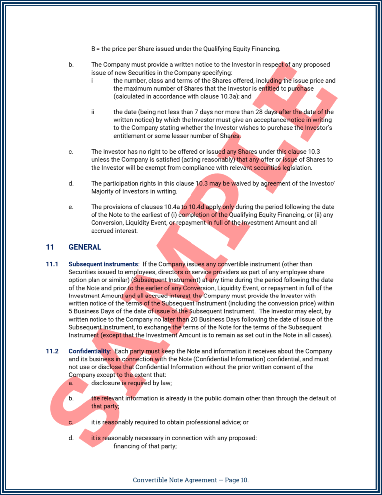Convertible Note Agreement Page 10