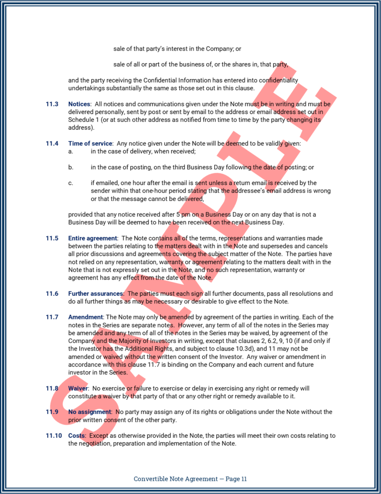 Convertible Note Agreement Page 11