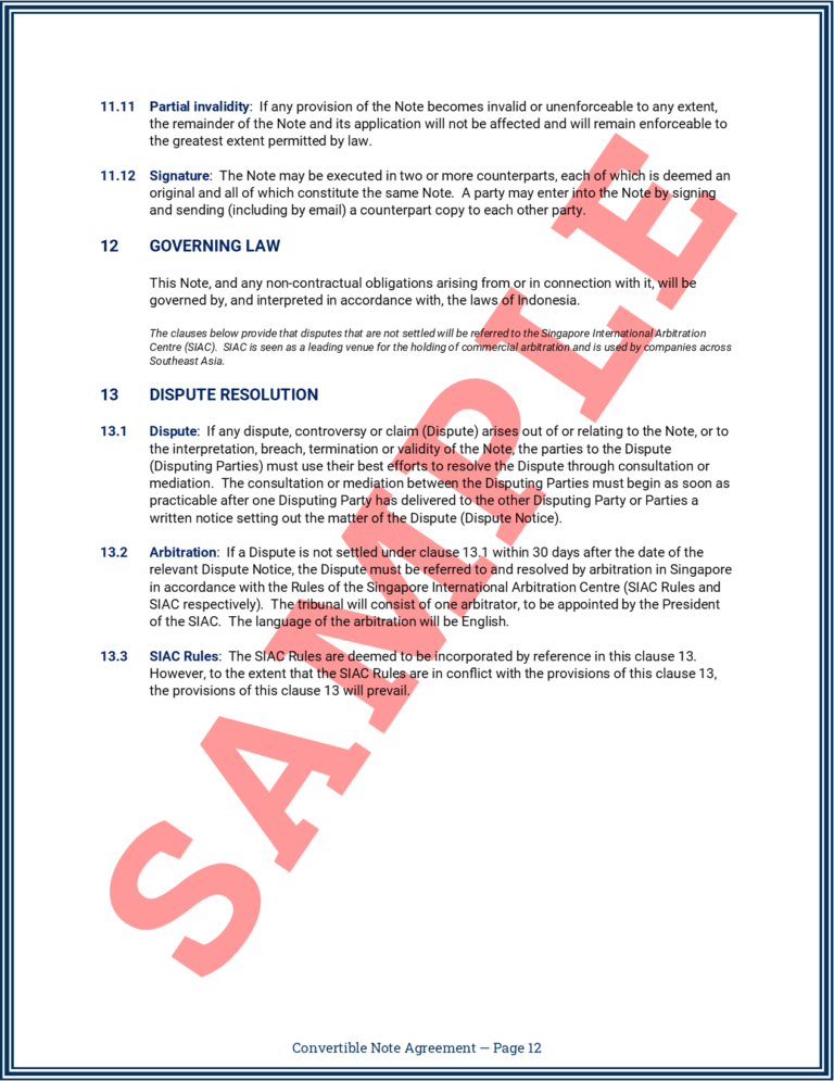 Convertible Note Agreement Page 12