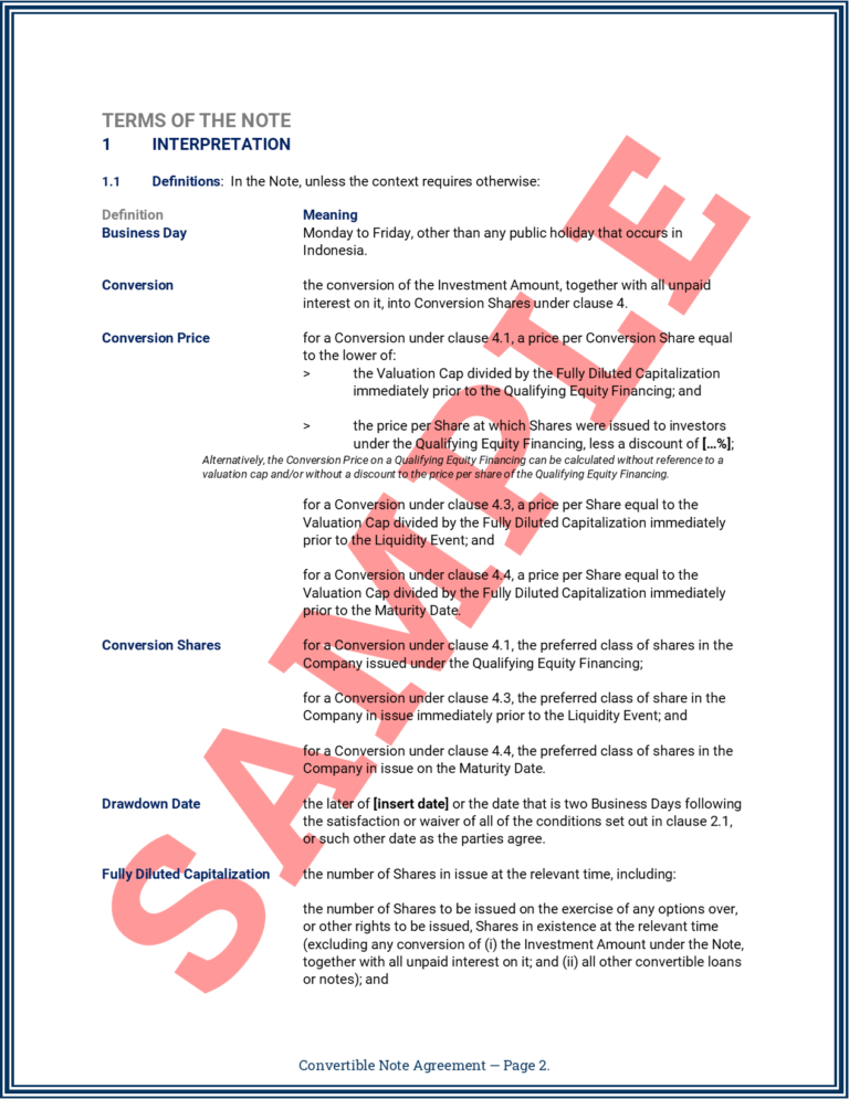 Convertible Note Agreement Page 2