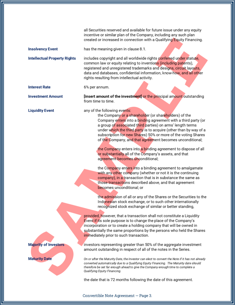 Convertible Note Agreement Page 3