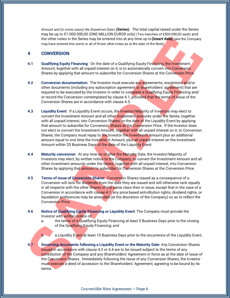 Convertible Note Agreement Page 6