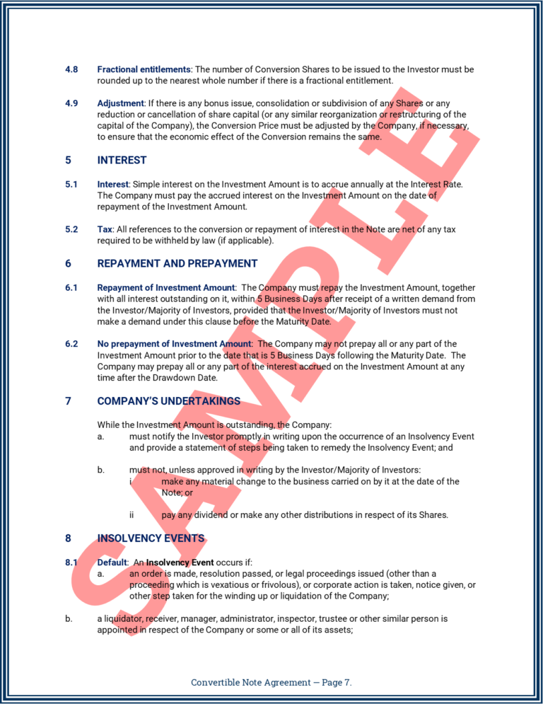 Convertible Note Agreement Page 7