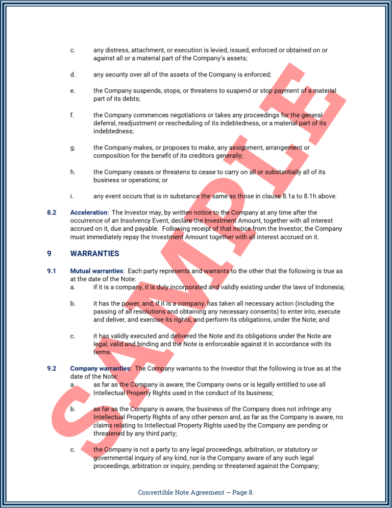 Convertible Note Agreement Page 8