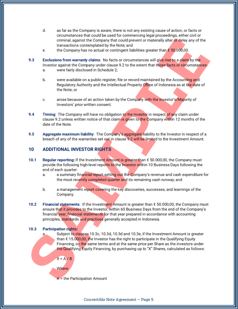 Convertible Note Agreement Page 9